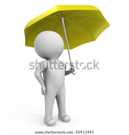 Under the umbrella waiting for a good weather - 3d image - stock photo