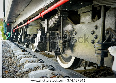 under view of wheel of train  - stock photo