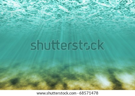 under water scene with light rays as background - stock photo