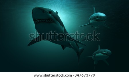 Under water sharks and light - stock photo