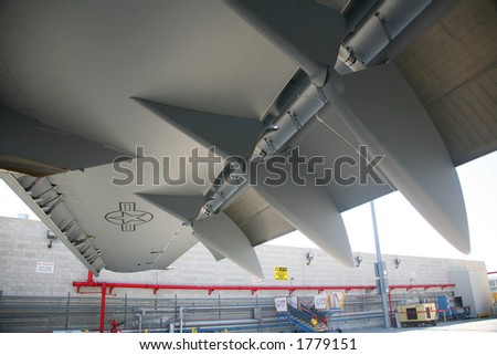 Under Wing of C-117 Aircraft - stock photo