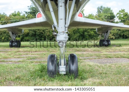 Undercarriage of the airplane - stock photo