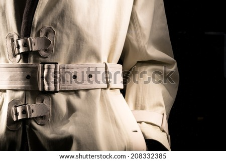 Undercover Cop Retro-Style Trench Coat - stock photo
