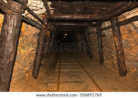 Underground anthracite coal mine in Ashland Pennsylvania. - stock photo