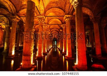 Underground Basilica Cistern, Istanbul, Turkey - stock photo