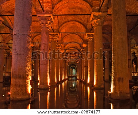 Underground Basilica Cistern, Istanbul, Turkey. - stock photo