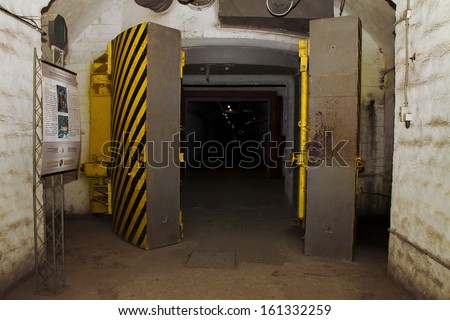 Underground bunker from cold war.Object 825 GTS(or K-825)- an underground submarine base in Balaklava, a secret military installation during the Cold War, located in the Balaklava.Sevastopol. Ukraine. - stock photo