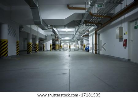 Underground garage - stock photo