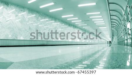 underground hall in metro - stock photo