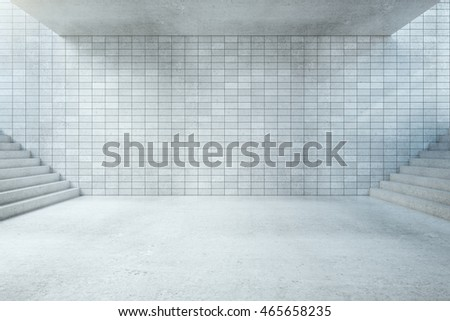 Underground hall interior with blank tile wall, concrete floor, ceiling and stairs. Mock up, 3D Rendering