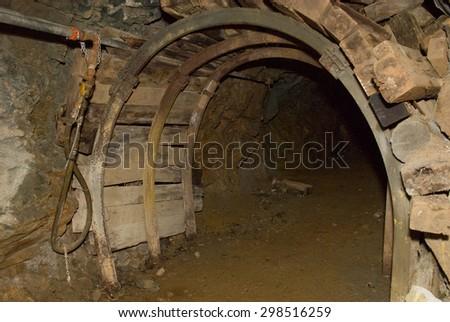 underground mining tunnel and adit - stock photo