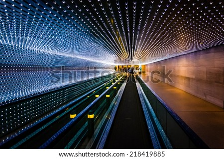 Underground moving walkway at the National Gallery of Art, in Washington, DC. - stock photo