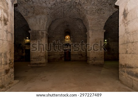 Underground of Diocletian's Palace, Split. - stock photo