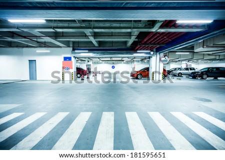 underground parking garage - stock photo
