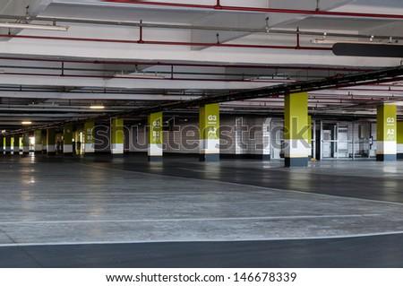 Underground parking garage in shopping center Sao Paulo - stock photo