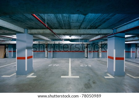 Underground parking view in a modern residential building. Useful file for your new architecture project. - stock photo