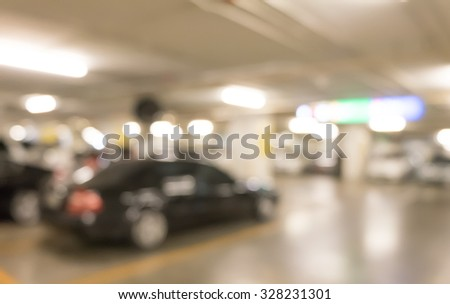 Underground parking with cars. - stock photo