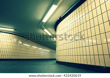 Underground passage from subway. Narrow exit to the city.  - stock photo