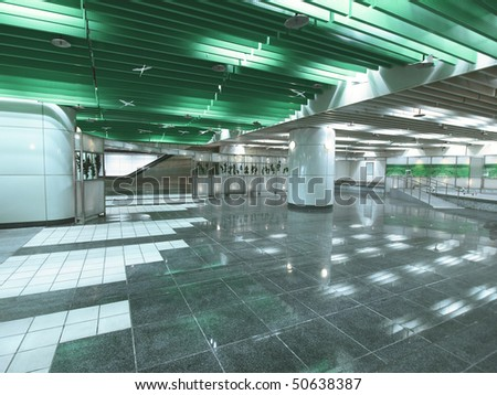 Underground passage in modern building - stock photo