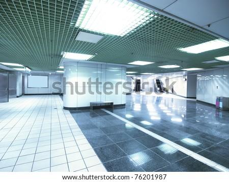 Underground passage in modern building - stock photo