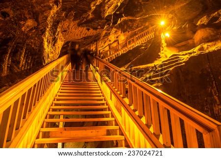 Underground staircase in the corridor - stock photo