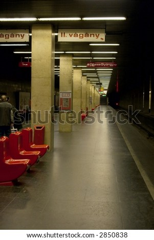 Underground station in Budapest with dim lighting