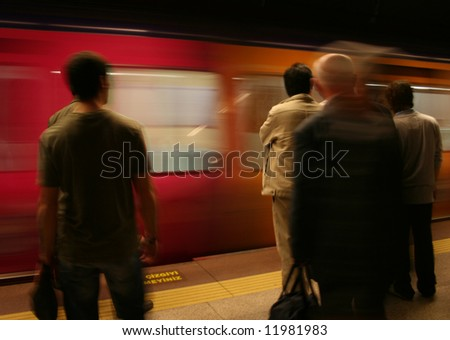 Underground station, motion blur - stock photo