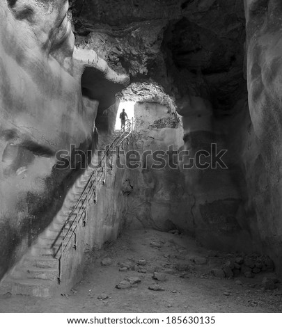 Underground tank for storing water in the ancient fortress of Masada - Israel (black and white) - stock photo