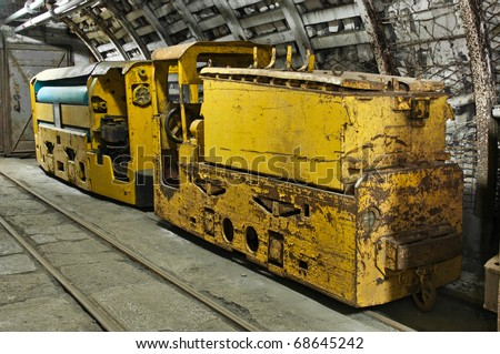Underground train in mine, carts in coal mine