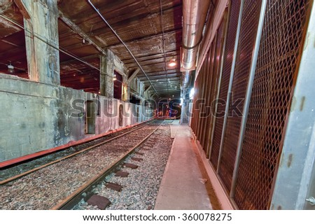 Underground train tracks of Grand Central Station in New York City. - stock photo
