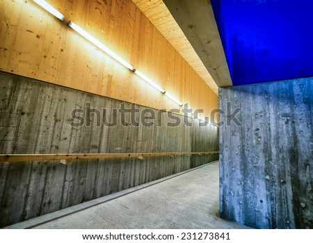 underground tunnel at a subway station - stock photo