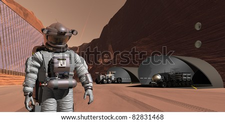 Underground tunnel habitat constructed within a Mars canyon - stock photo