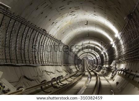 Underground tunnel. Subway tunnel - stock photo