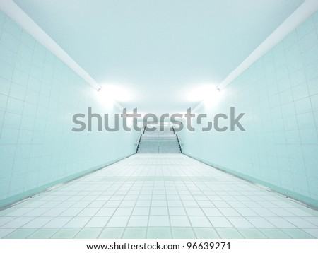Underground walkway and stair - stock photo