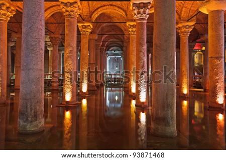 Underground water Basilica Cistern - Istanbul Turkey - stock photo