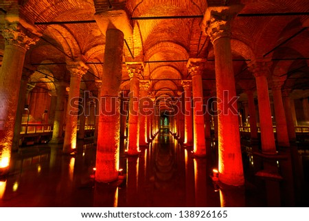 Underground water storage Yerebatan Sarayi (Basilica Cistern), Istanbul, Turkey - stock photo