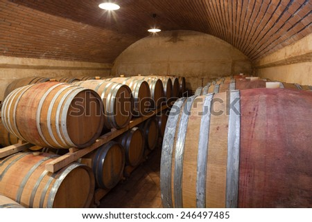 Underground Wine Cellar,Shallow doff - stock photo