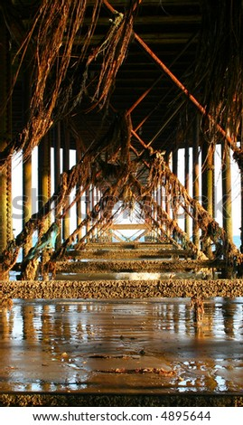Underneath a pier/boardwalk - stock photo