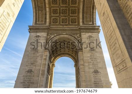 Underneath the Arc de Triomphe in Paris, France - stock photo