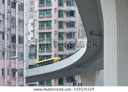 Underside of a freeway with urban background  - stock photo