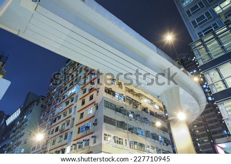 Underside of a highway with urban background  - stock photo
