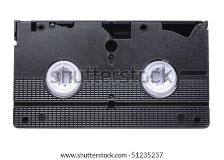 underside of black video cassette isolated on white background - stock photo
