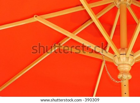 Underside of Bright Red Umbrella - stock photo