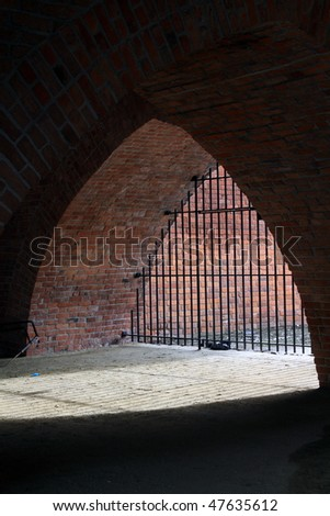 Underside part of Warsaw (Poland) barbakan - part of medieval fortification. - stock photo