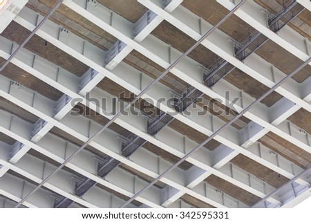 Underside view of Concrete Bridge Substructure. - stock photo