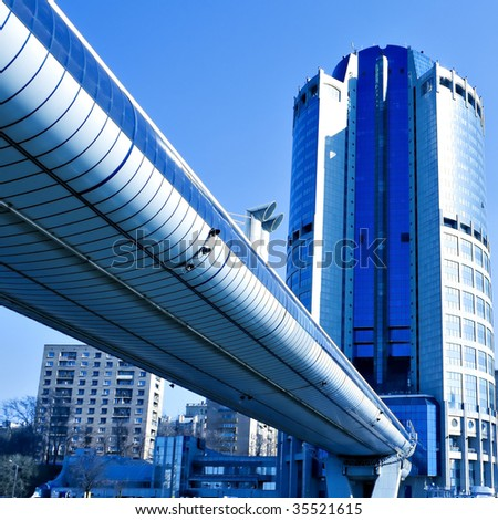 underside view to modern skyscrapers of business center - stock photo