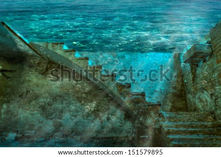 underwater abandoned room of an old house - flooded mysterious dark basement  - stock photo