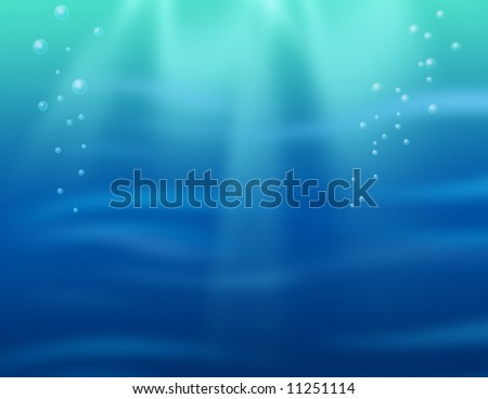 Underwater background - cartoon style - stock photo