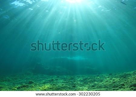 Underwater background in ocean - stock photo