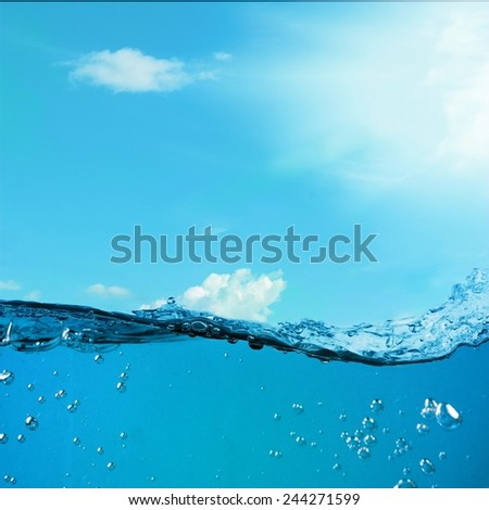 Underwater background. Wave against the sky. Blue ocean landscape - stock photo